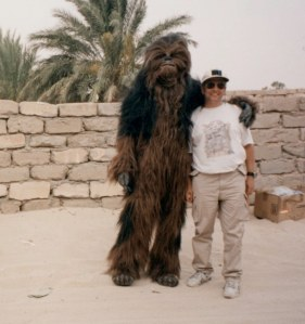 Nick and a Wookie friend on the Star Wars set - Source