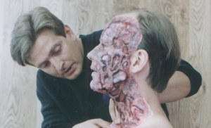 Nick applying some prosthetic pieces in 'Last of the Mohicans' - Source