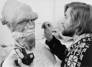 A young Nick sculpts a prosthetic for 'Return of the Jedi' - Source