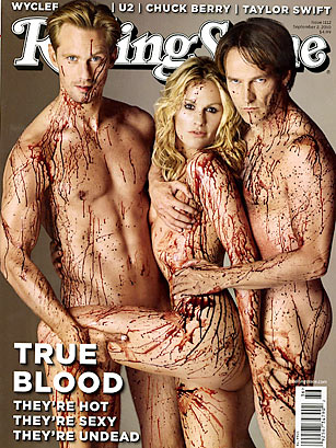 Rolling Stone Cover using buckets of fake blood - source