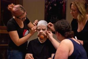 Claire, Jodie and Natalie applying silicone prosthetic