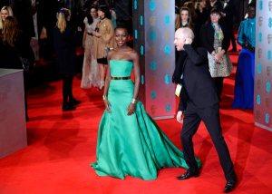Lupita Nyong'o works the red carpet at British Academy Film Awards 2014