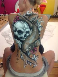 Oriental Back Tattoo: A portfolio piece with LetsPose Studios.  Justine painted the skull whilst Nicola painted the Koi fish.  Freehand brush painted and took three hours.