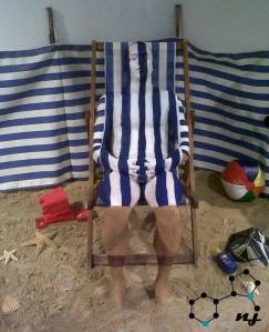 Camouflage Deck Chair: This was a showcase piece for Salon Cornwall.  Inspiration was to bring elements of the beach into the venue.  Freehand brush painted and took five hours.
